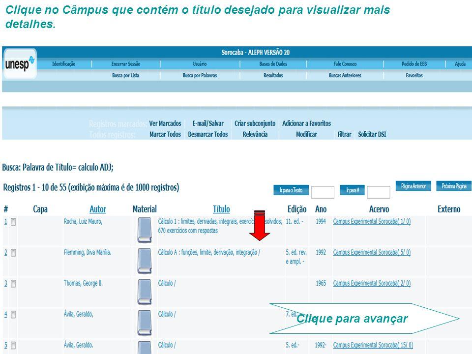 Serão exibidas informações como status, disponibilidade, localização, etc. Clique para avançar