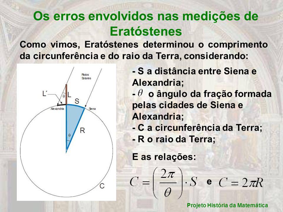 Projeto História da Matemática Os erros envolvidos nas medições de Eratóstenes Como vimos, Eratóstenes determinou o comprimento da circunferência e do