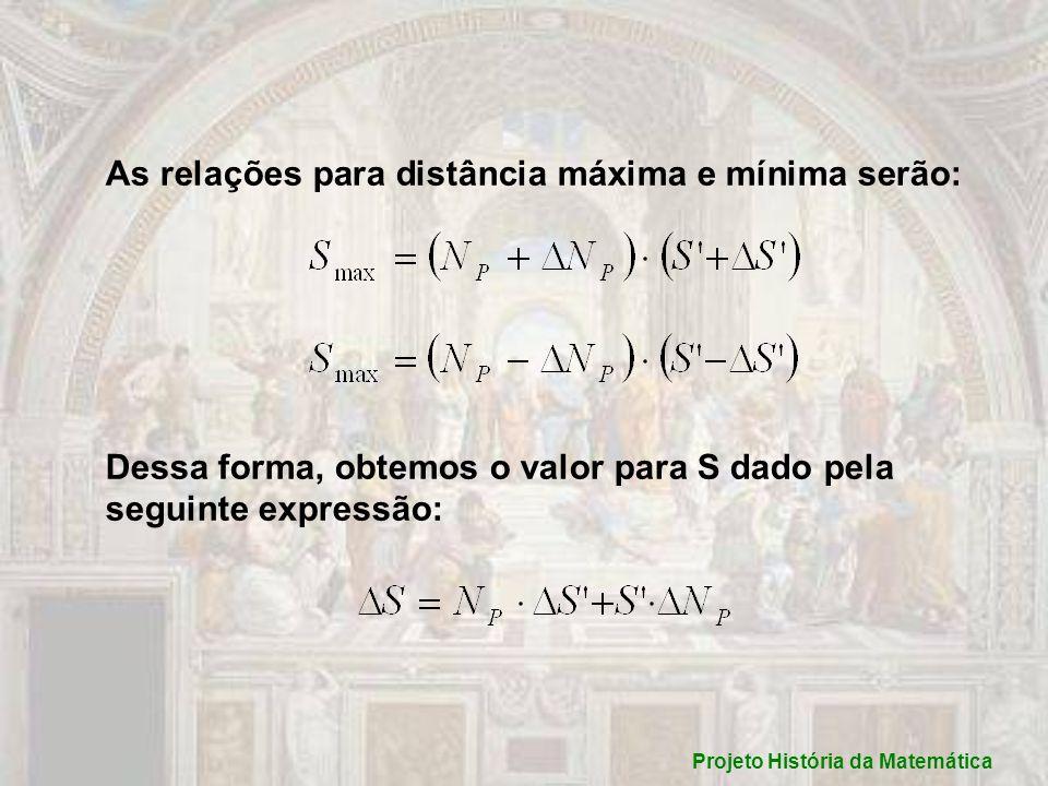 As relações para distância máxima e mínima serão: Dessa forma, obtemos o valor para S dado pela seguinte expressão: Projeto História da Matemática
