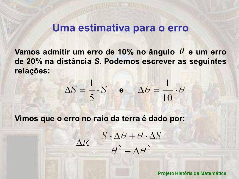 Uma estimativa para o erro Vamos admitir um erro de 10% no ângulo e um erro de 20% na distância S. Podemos escrever as seguintes relações: e Vimos que