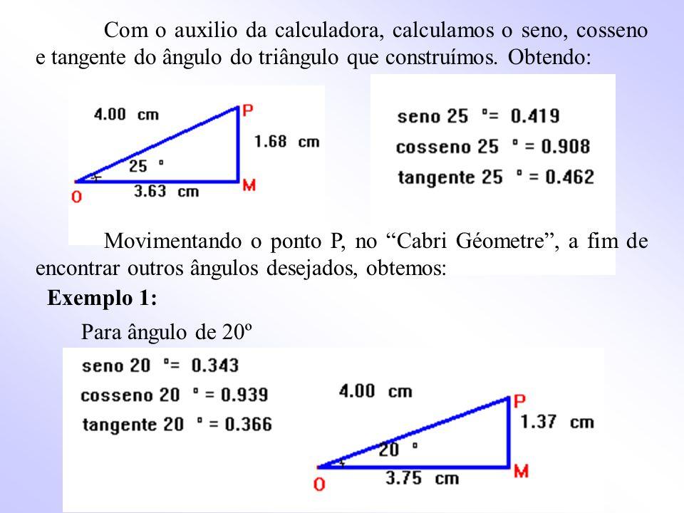 Com o auxilio da calculadora, calculamos o seno, cosseno e tangente do ângulo do triângulo que construímos.