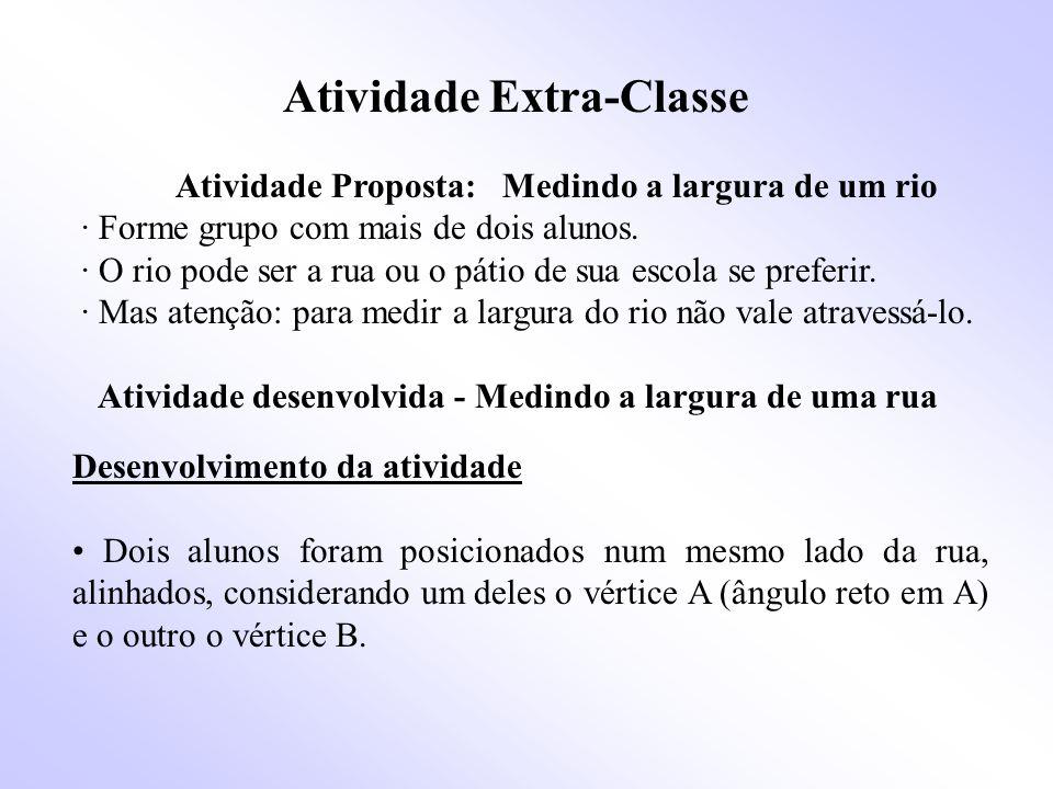 Atividade Extra-Classe Atividade Proposta: Medindo a largura de um rio · Forme grupo com mais de dois alunos.