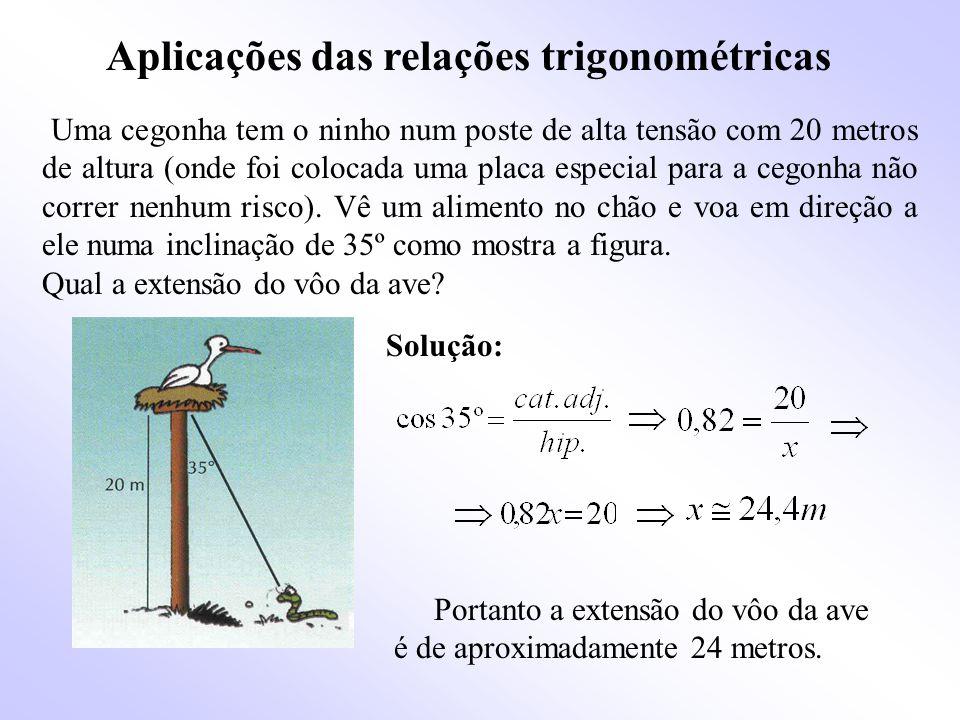 Aplicações das relações trigonométricas Uma cegonha tem o ninho num poste de alta tensão com 20 metros de altura (onde foi colocada uma placa especial para a cegonha não correr nenhum risco).