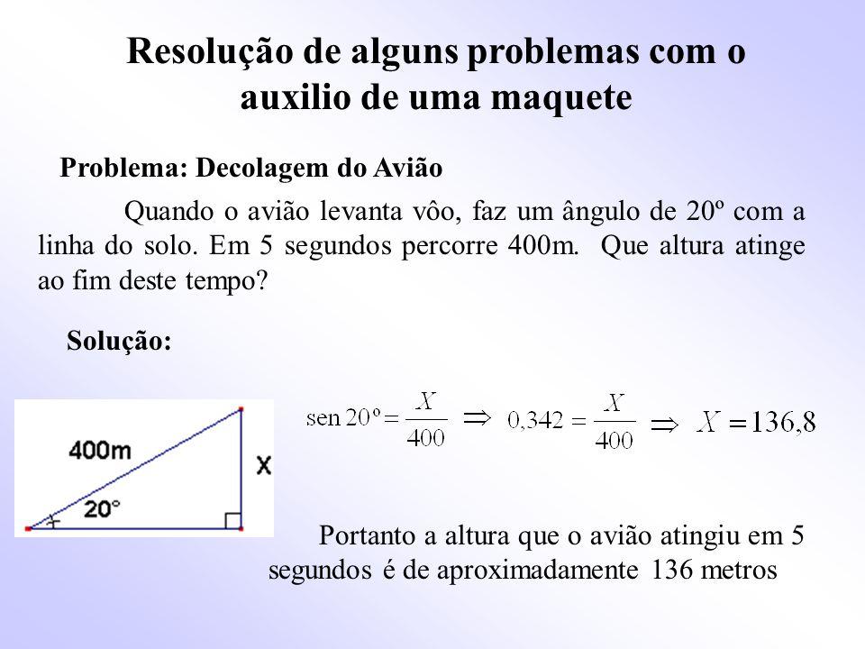 Resolução de alguns problemas com o auxilio de uma maquete Quando o avião levanta vôo, faz um ângulo de 20º com a linha do solo.