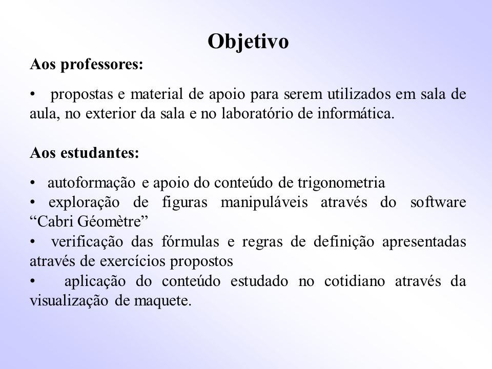 Objetivo Aos professores: propostas e material de apoio para serem utilizados em sala de aula, no exterior da sala e no laboratório de informática.