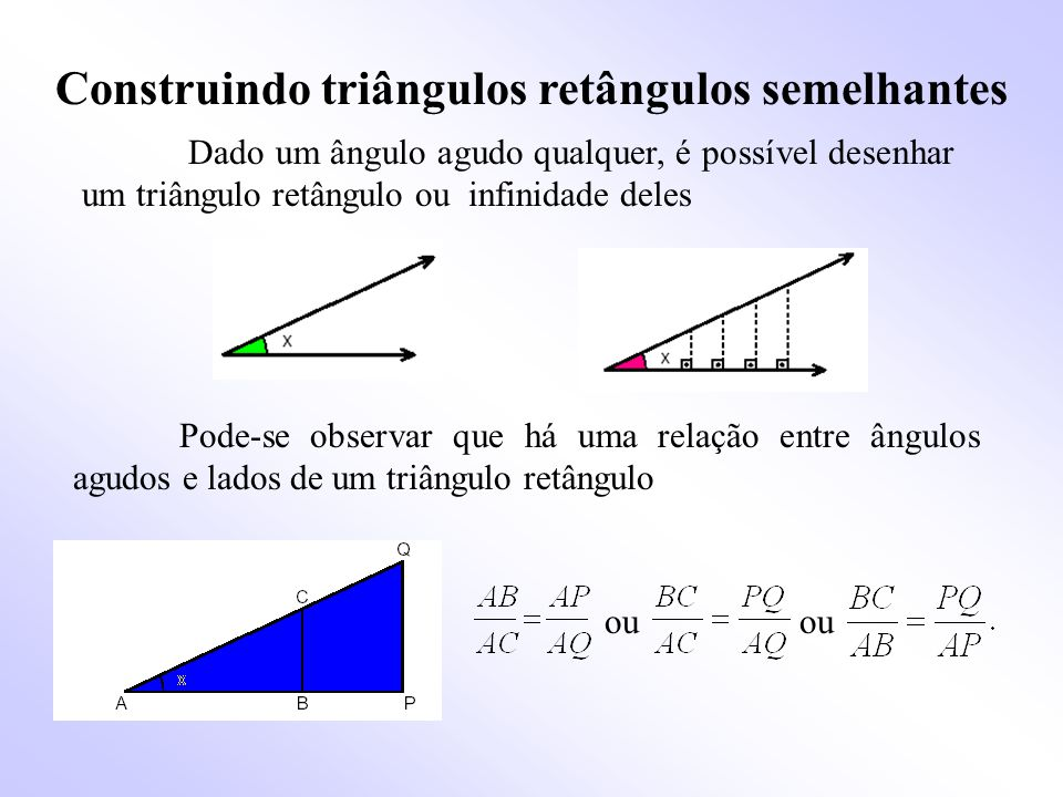 Construindo triângulos retângulos semelhantes Dado um ângulo agudo qualquer, é possível desenhar um triângulo retângulo ou infinidade deles Pode-se observar que há uma relação entre ângulos agudos e lados de um triângulo retângulo ou ou