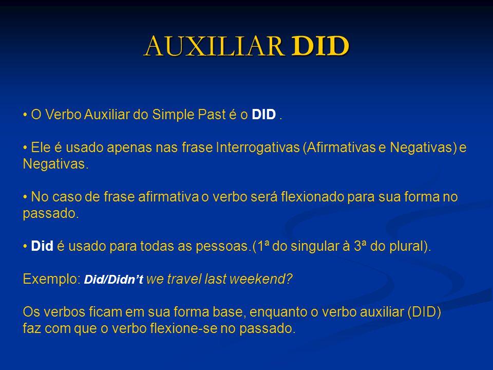 AUXILIAR DID O Verbo Auxiliar do Simple Past é o DID. Ele é usado apenas nas frase Interrogativas (Afirmativas e Negativas) e Negativas. No caso de fr
