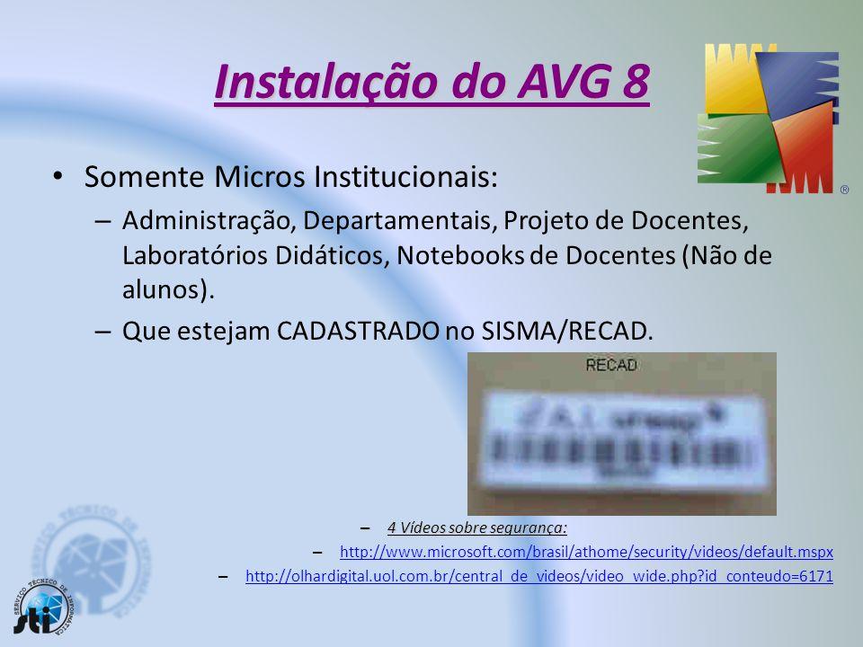 Atualização do Anti-Vírus AVG 8 13 Clique com o botão direito do mouse