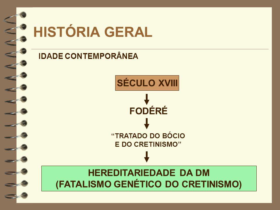 SÉCULO XVIII HISTÓRIA GERAL FODÉRÉ IDADE CONTEMPORÂNEA TRATADO DO BÓCIO E DO CRETINISMO HEREDITARIEDADE DA DM (FATALISMO GENÉTICO DO CRETINISMO)