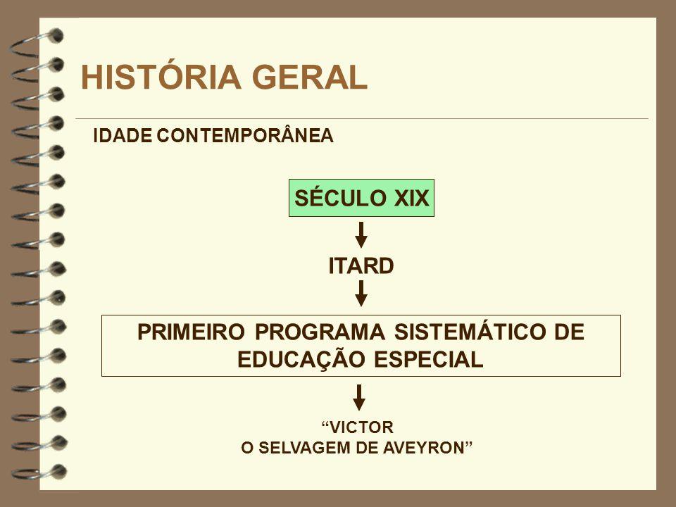 SÉCULO XIX HISTÓRIA GERAL ITARD IDADE CONTEMPORÂNEA VICTOR O SELVAGEM DE AVEYRON PRIMEIRO PROGRAMA SISTEMÁTICO DE EDUCAÇÃO ESPECIAL