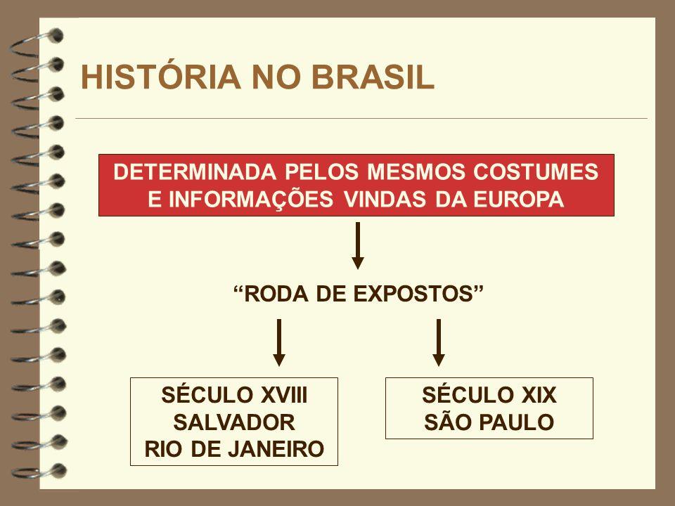 HISTÓRIA NO BRASIL DETERMINADA PELOS MESMOS COSTUMES E INFORMAÇÕES VINDAS DA EUROPA SÉCULO XVIII SALVADOR RIO DE JANEIRO RODA DE EXPOSTOS SÉCULO XIX S