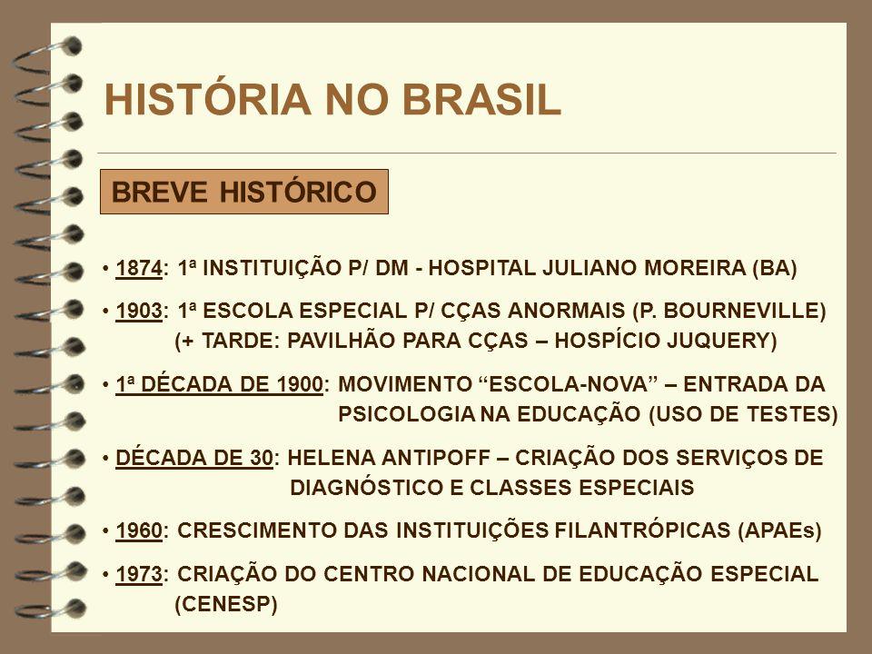 HISTÓRIA NO BRASIL BREVE HISTÓRICO 1874: 1ª INSTITUIÇÃO P/ DM - HOSPITAL JULIANO MOREIRA (BA) 1903: 1ª ESCOLA ESPECIAL P/ CÇAS ANORMAIS (P. BOURNEVILL