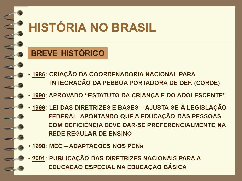 HISTÓRIA NO BRASIL BREVE HISTÓRICO 1986: CRIAÇÃO DA COORDENADORIA NACIONAL PARA INTEGRAÇÃO DA PESSOA PORTADORA DE DEF. (CORDE) 1990: APROVADO ESTATUTO