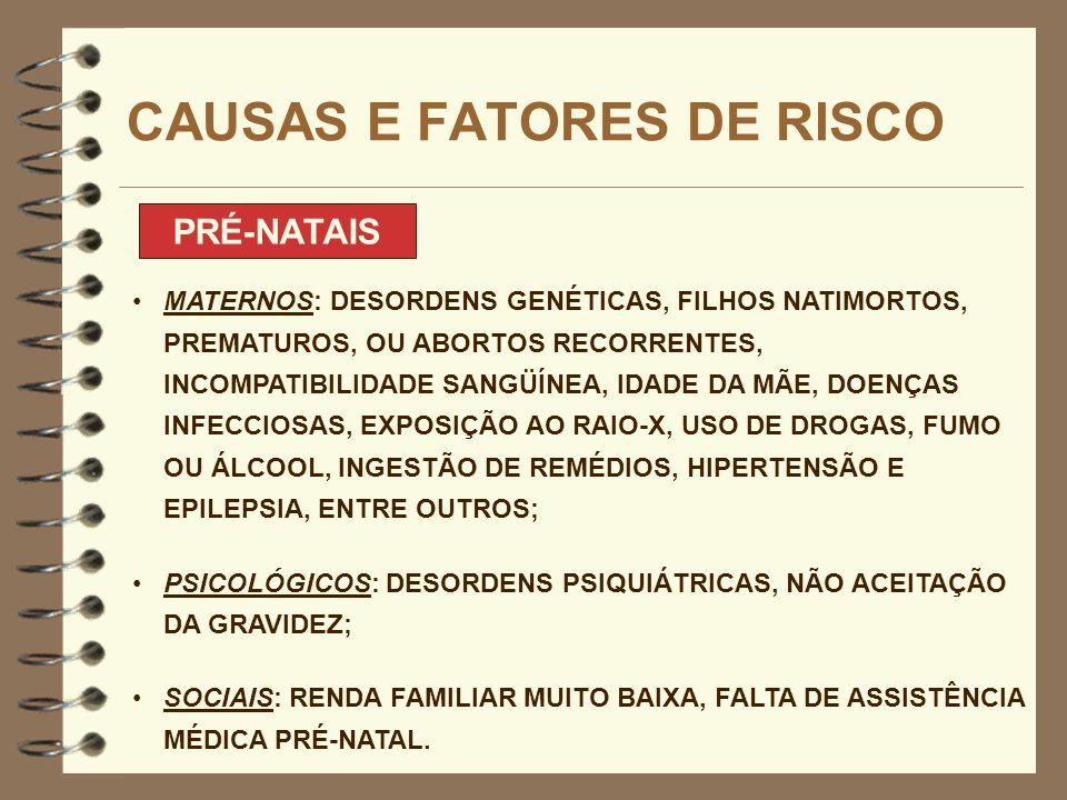 CAUSAS E FATORES DE RISCO PRÉ-NATAIS MATERNOS: DESORDENS GENÉTICAS, FILHOS NATIMORTOS, PREMATUROS, OU ABORTOS RECORRENTES, INCOMPATIBILIDADE SANGÜÍNEA