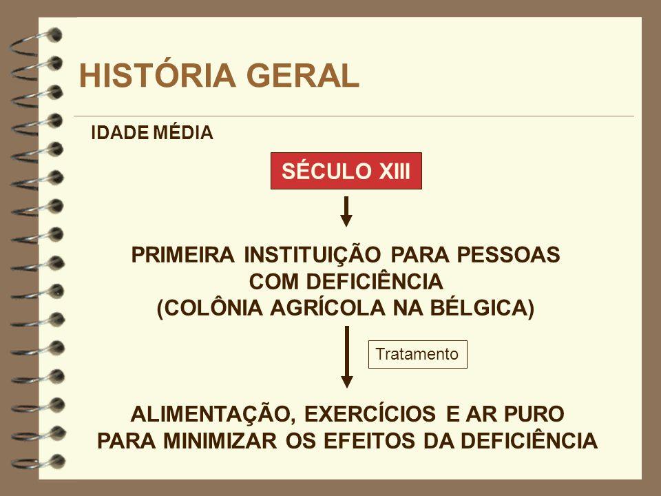 SÉCULO XIII HISTÓRIA GERAL PRIMEIRA INSTITUIÇÃO PARA PESSOAS COM DEFICIÊNCIA (COLÔNIA AGRÍCOLA NA BÉLGICA) IDADE MÉDIA ALIMENTAÇÃO, EXERCÍCIOS E AR PU