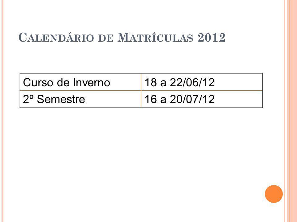 C ALENDÁRIO DE M ATRÍCULAS 2012 Curso de Inverno18 a 22/06/12 2º Semestre16 a 20/07/12