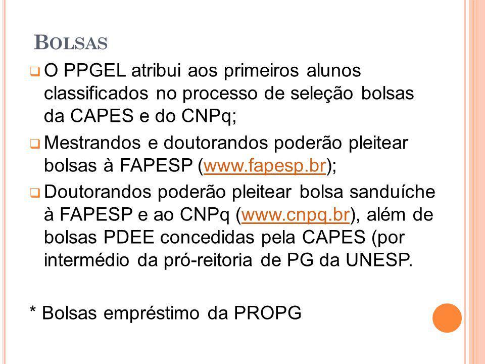 B OLSAS O PPGEL atribui aos primeiros alunos classificados no processo de seleção bolsas da CAPES e do CNPq; Mestrandos e doutorandos poderão pleitear