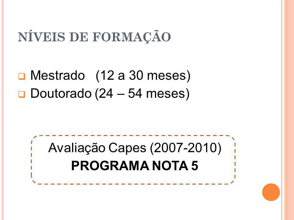 NÍVEIS DE FORMAÇÃO Mestrado (12 a 30 meses) Doutorado (24 – 54 meses) Avaliação Capes (2007-2010) PROGRAMA NOTA 5