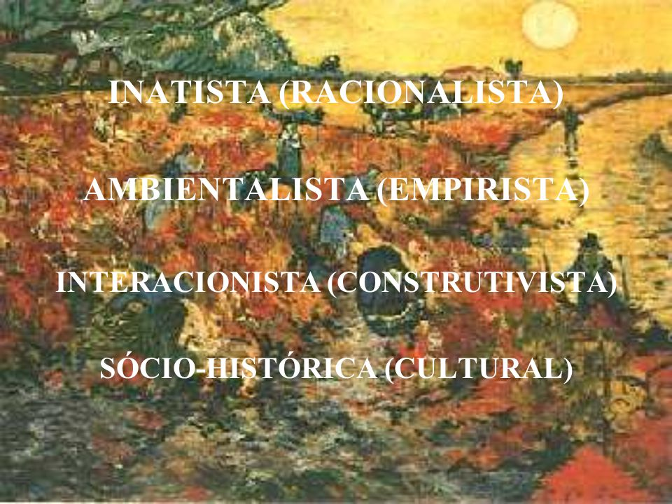 INATISTA (RACIONALISTA) AMBIENTALISTA (EMPIRISTA) INTERACIONISTA (CONSTRUTIVISTA) SÓCIO-HISTÓRICA (CULTURAL)