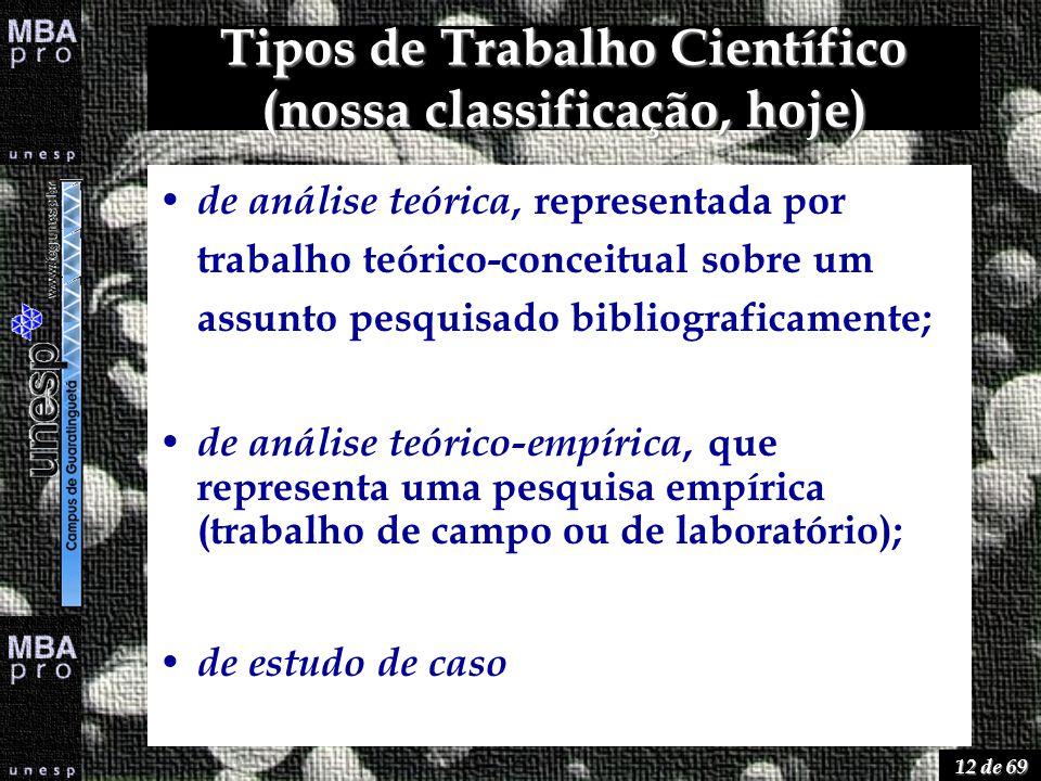 12 de 69 Tipos de Trabalho Científico (nossa classificação, hoje) de análise teórica, representada por trabalho teórico-conceitual sobre um assunto pe