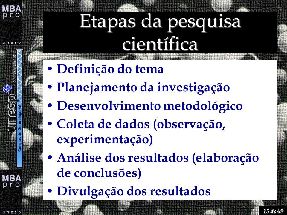15 de 69 Etapas da pesquisa científica Definição do tema Planejamento da investigação Desenvolvimento metodológico Coleta de dados (observação, experi