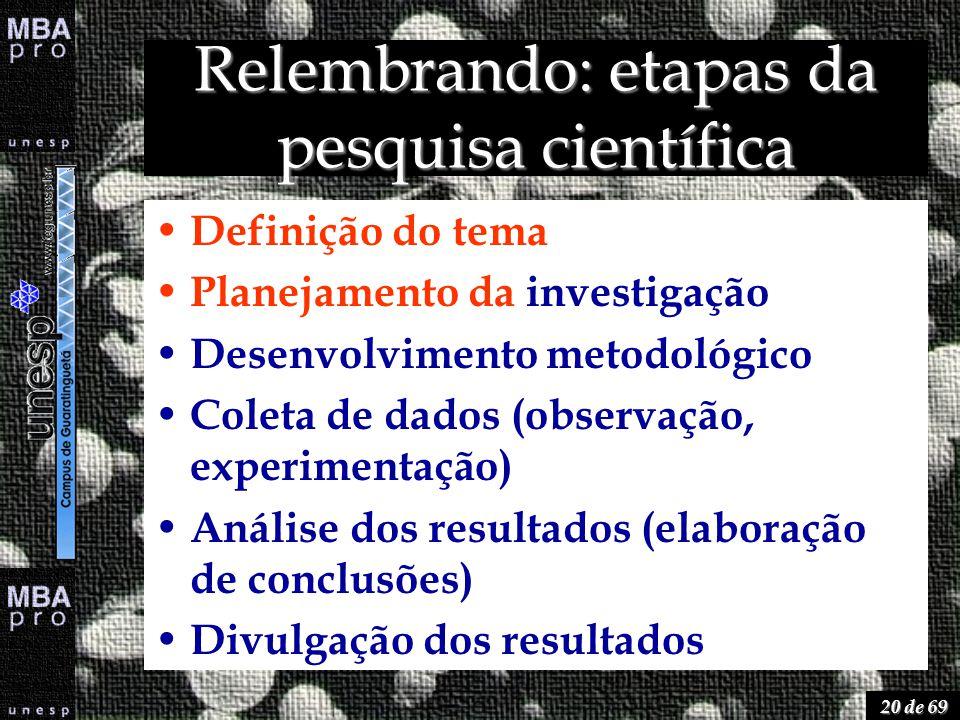 20 de 69 Relembrando: etapas da pesquisa científica Definição do tema Planejamento da investigação Desenvolvimento metodológico Coleta de dados (obser