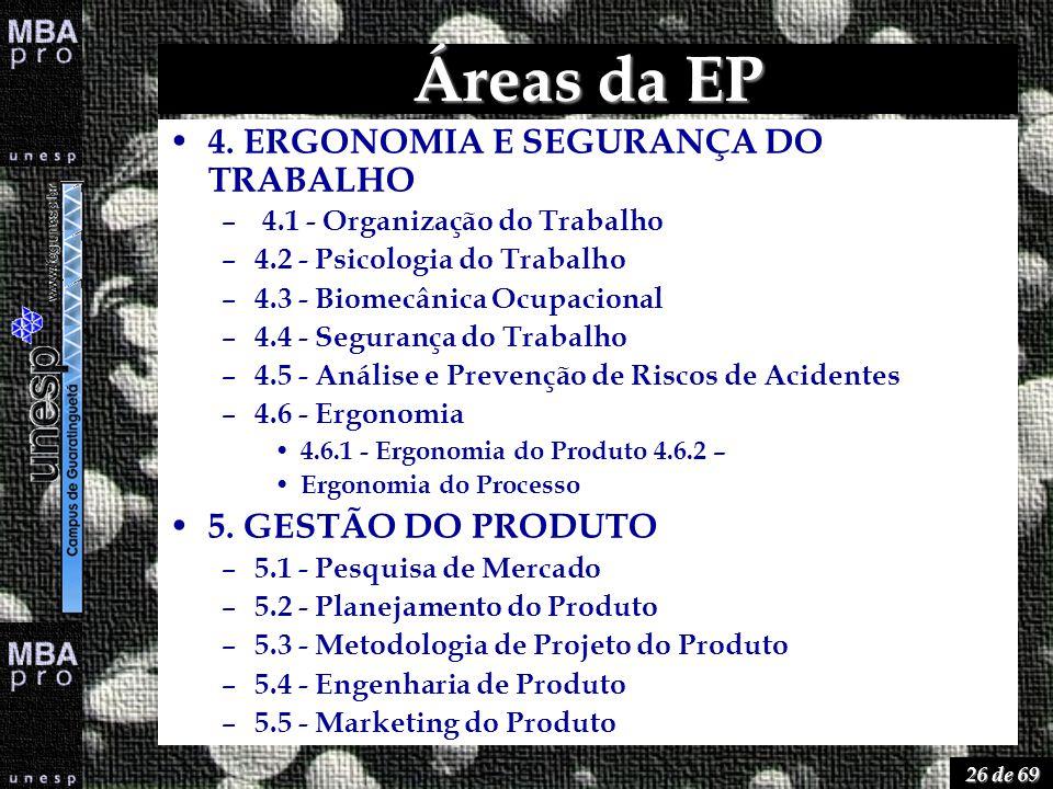 26 de 69 Áreas da EP 4. ERGONOMIA E SEGURANÇA DO TRABALHO – 4.1 - Organização do Trabalho – 4.2 - Psicologia do Trabalho – 4.3 - Biomecânica Ocupacion