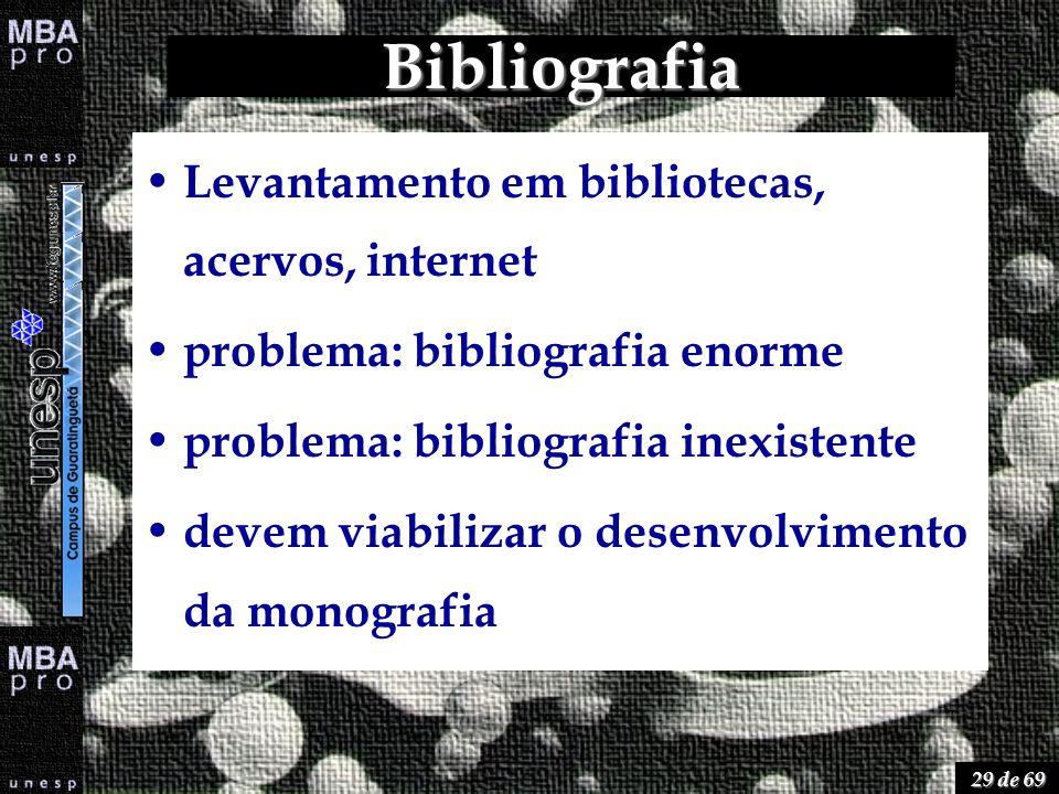 29 de 69 Bibliografia Levantamento em bibliotecas, acervos, internet problema: bibliografia enorme problema: bibliografia inexistente devem viabilizar