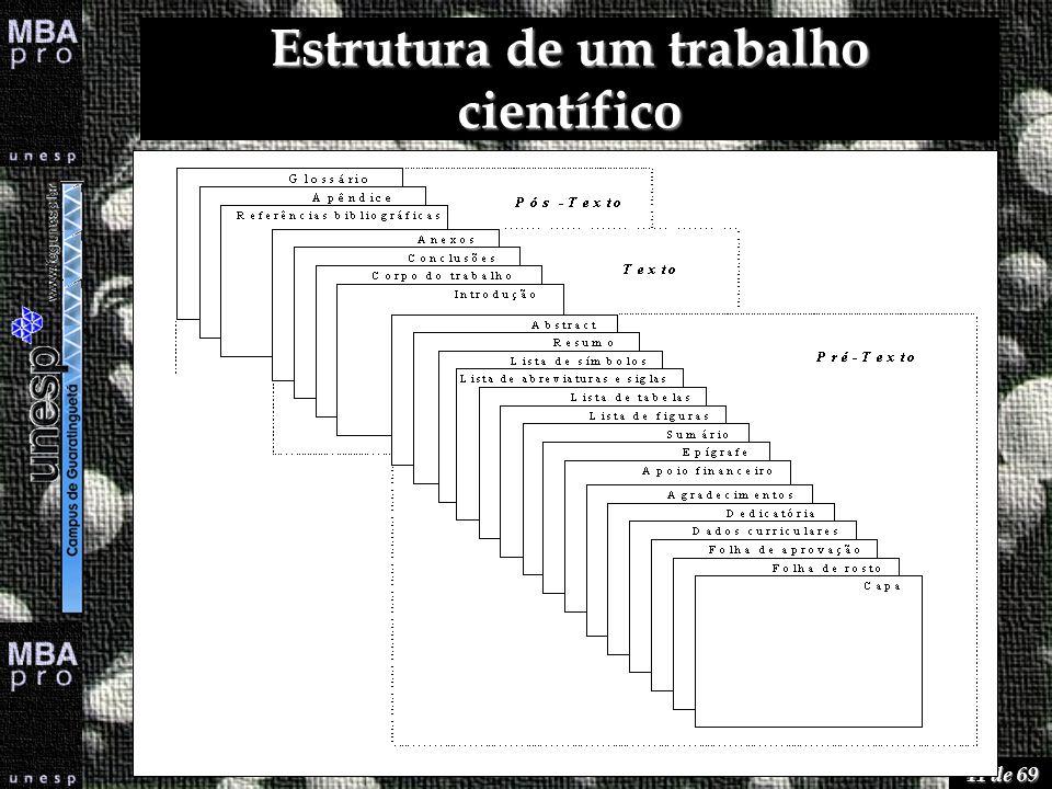 41 de 69 Estrutura de um trabalho científico