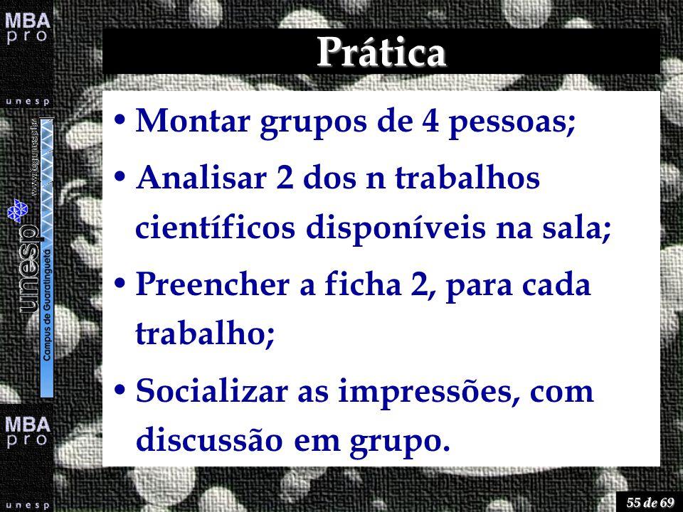 55 de 69 Prática Montar grupos de 4 pessoas; Analisar 2 dos n trabalhos científicos disponíveis na sala; Preencher a ficha 2, para cada trabalho; Soci