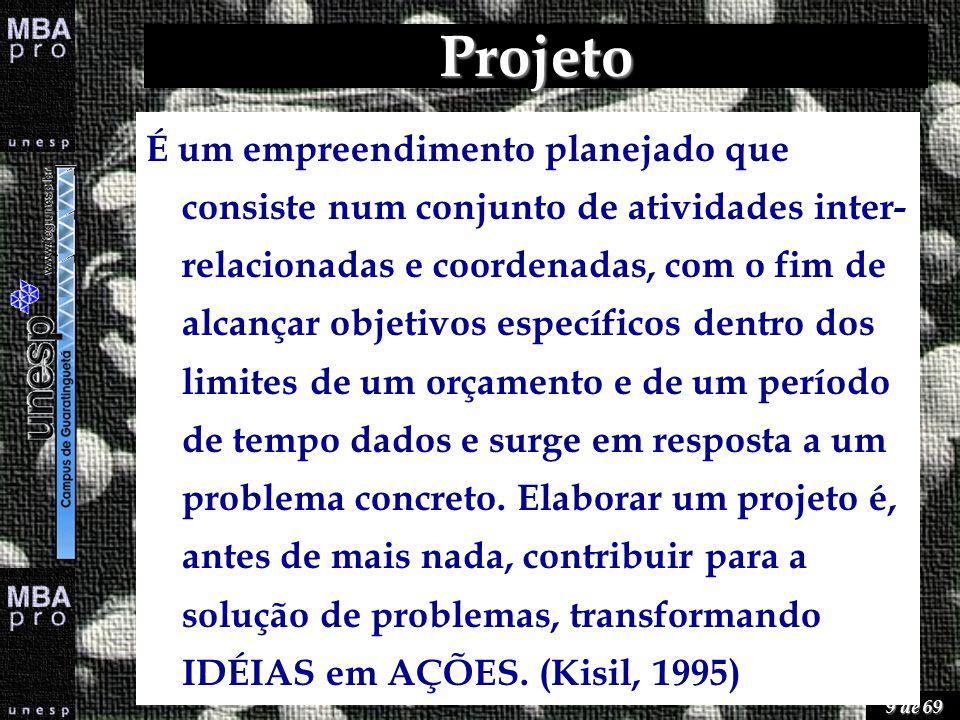 9 de 69 Projeto É um empreendimento planejado que consiste num conjunto de atividades inter- relacionadas e coordenadas, com o fim de alcançar objetiv