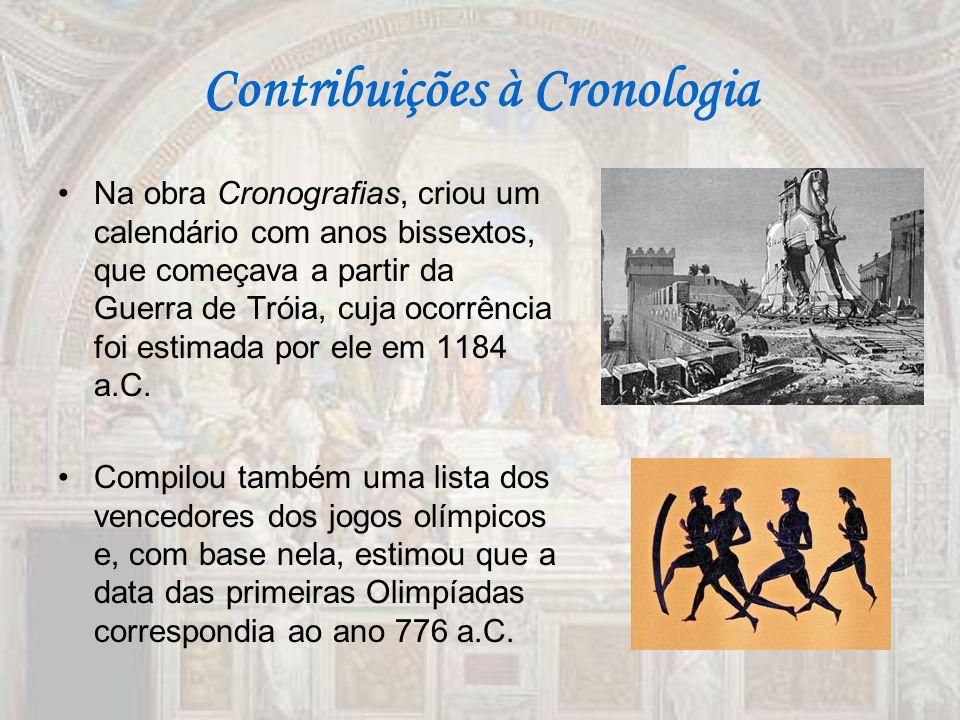 Contribuições à Cronologia Na obra Cronografias, criou um calendário com anos bissextos, que começava a partir da Guerra de Tróia, cuja ocorrência foi