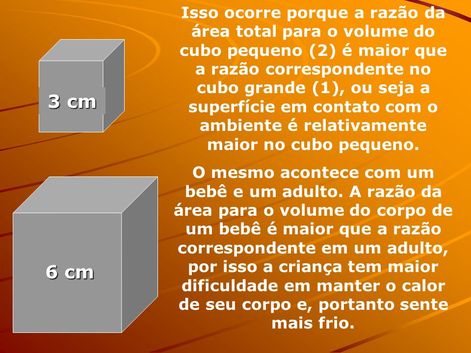 Pense em dois cubos de ferro maciço, um de aresta 3 cm e o outro de aresta 6 cm, ambos à temperatura 36ºC. Colocando-os em um ambiente de temperatura
