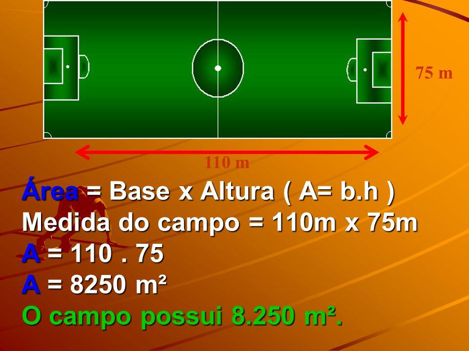 Calculando a área do campo de futebol. Sabendo que as dimensões de um campo de futebol são 110 m x 75 m calcule sua área. Revisando área de figuras pl