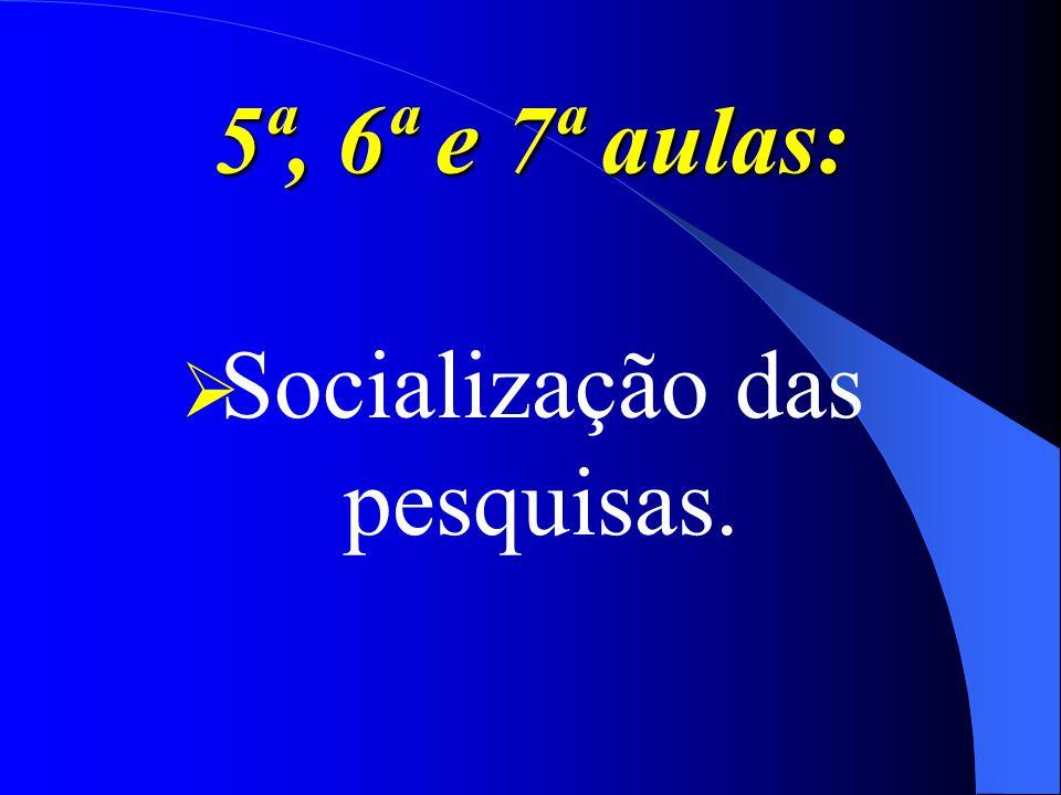 5ª, 6ª e 7ª aulas: Socialização das pesquisas.