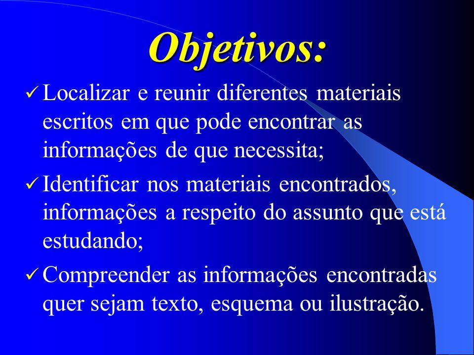 Objetivos: Localizar e reunir diferentes materiais escritos em que pode encontrar as informações de que necessita; Identificar nos materiais encontrad