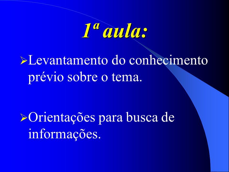 1ª aula: Levantamento do conhecimento prévio sobre o tema. Orientações para busca de informações.