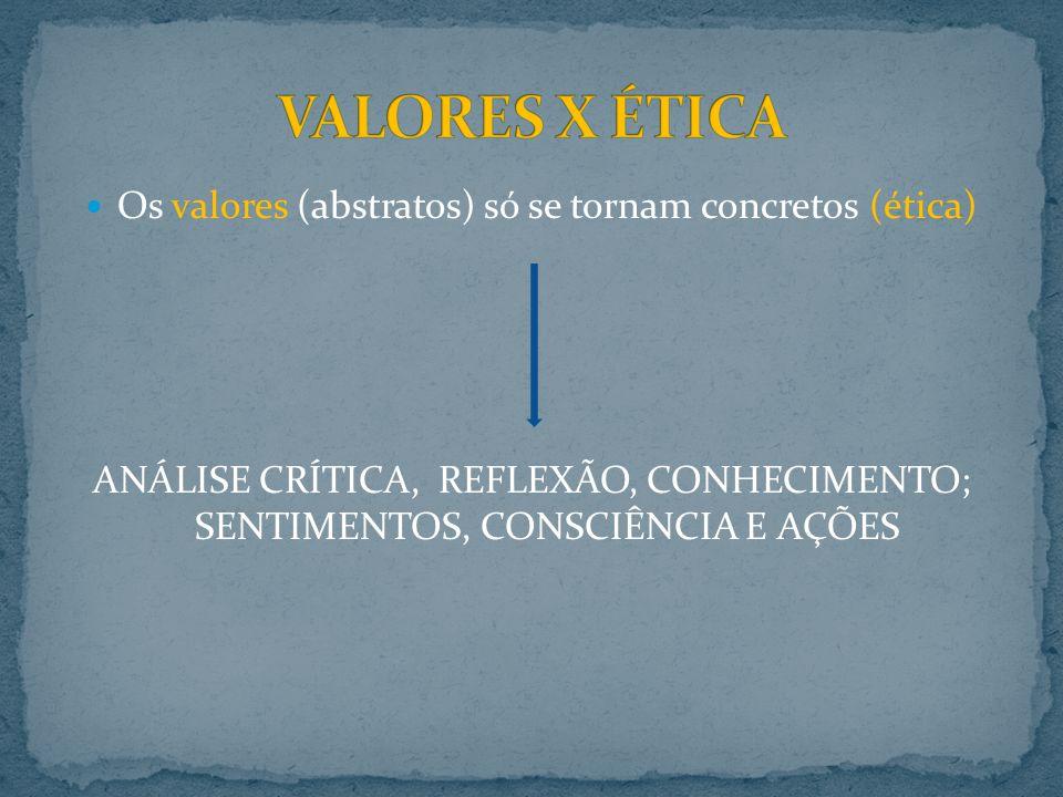 Os valores (abstratos) só se tornam concretos (ética) ANÁLISE CRÍTICA, REFLEXÃO, CONHECIMENTO; SENTIMENTOS, CONSCIÊNCIA E AÇÕES