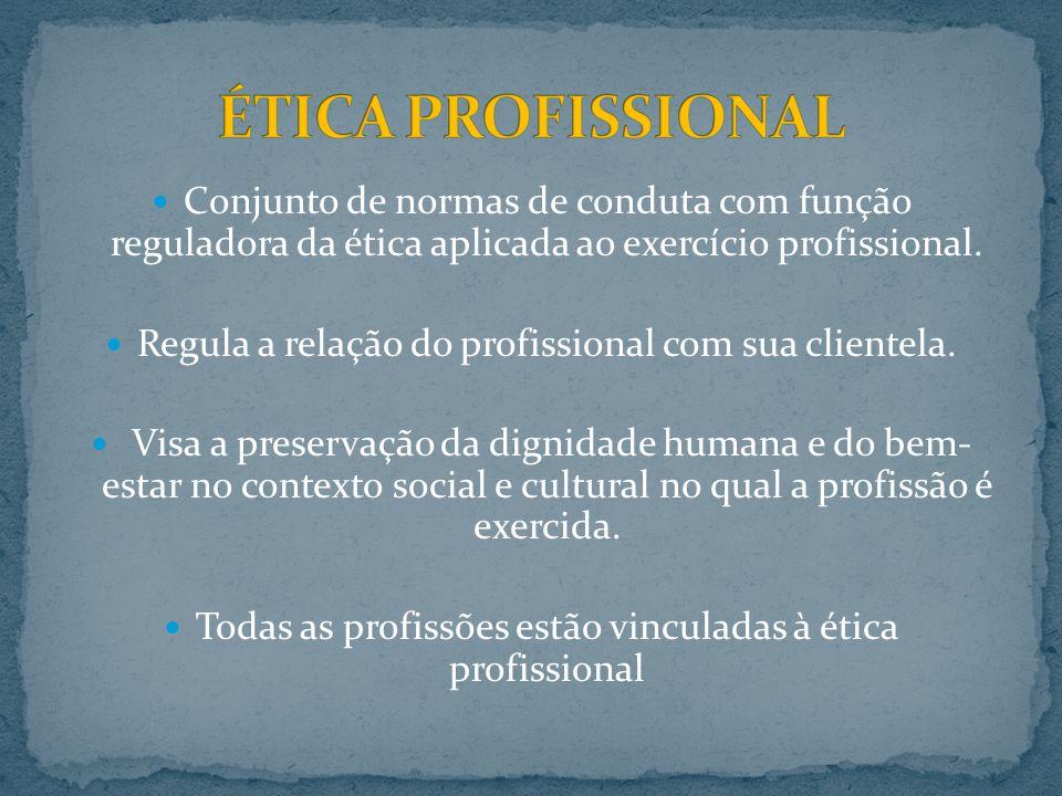 Conjunto de normas de conduta com função reguladora da ética aplicada ao exercício profissional. Regula a relação do profissional com sua clientela. V