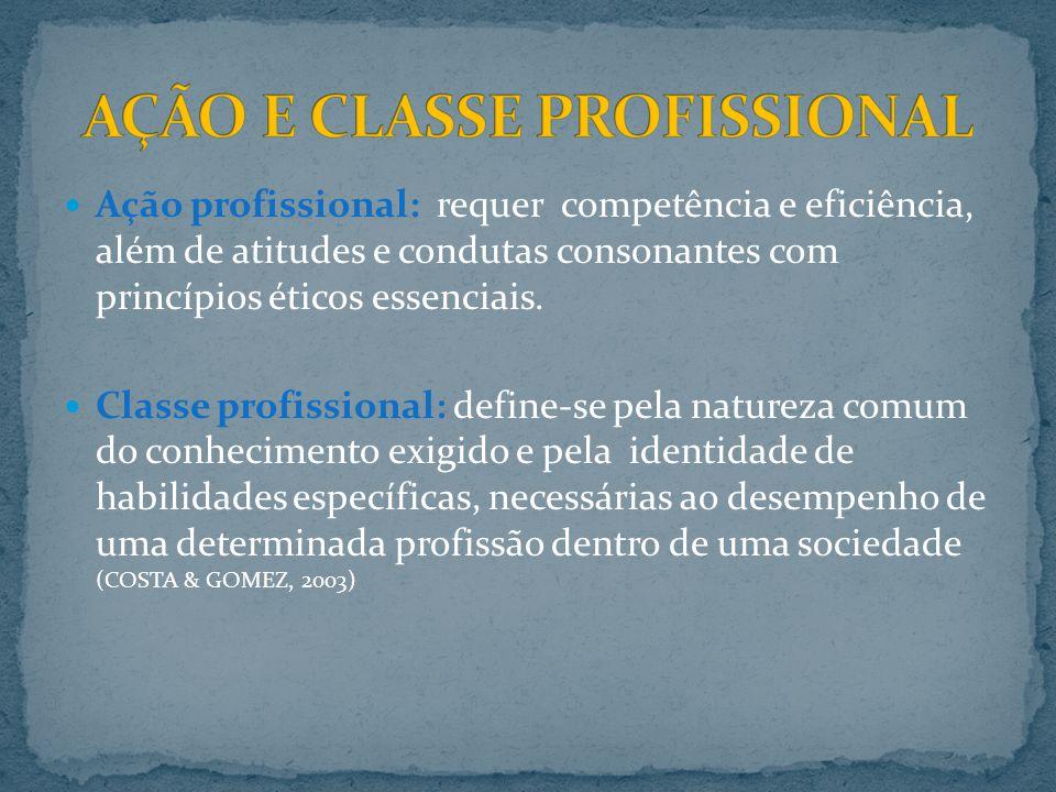 Ação profissional: requer competência e eficiência, além de atitudes e condutas consonantes com princípios éticos essenciais. Classe profissional: def