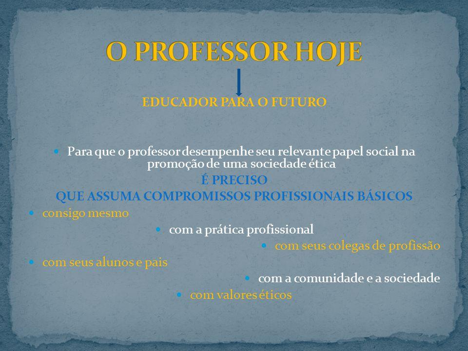 EDUCADOR PARA O FUTURO Para que o professor desempenhe seu relevante papel social na promoção de uma sociedade ética É PRECISO QUE ASSUMA COMPROMISSOS