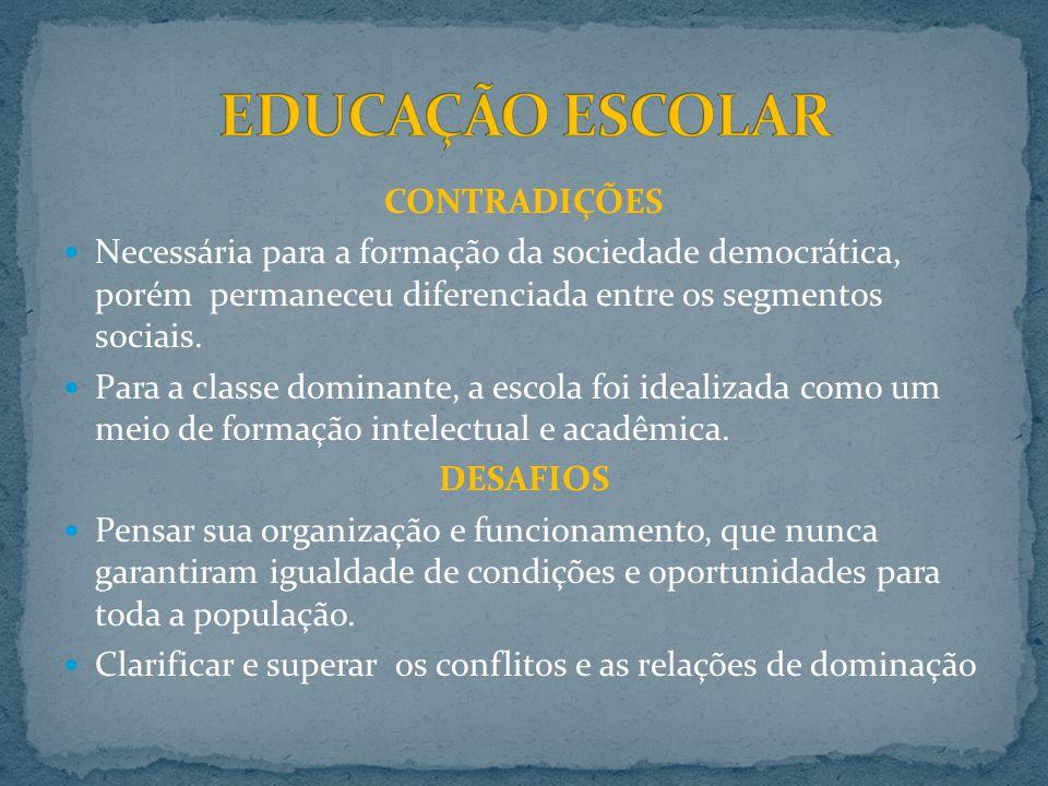 CONTRADIÇÕES Necessária para a formação da sociedade democrática, porém permaneceu diferenciada entre os segmentos sociais.
