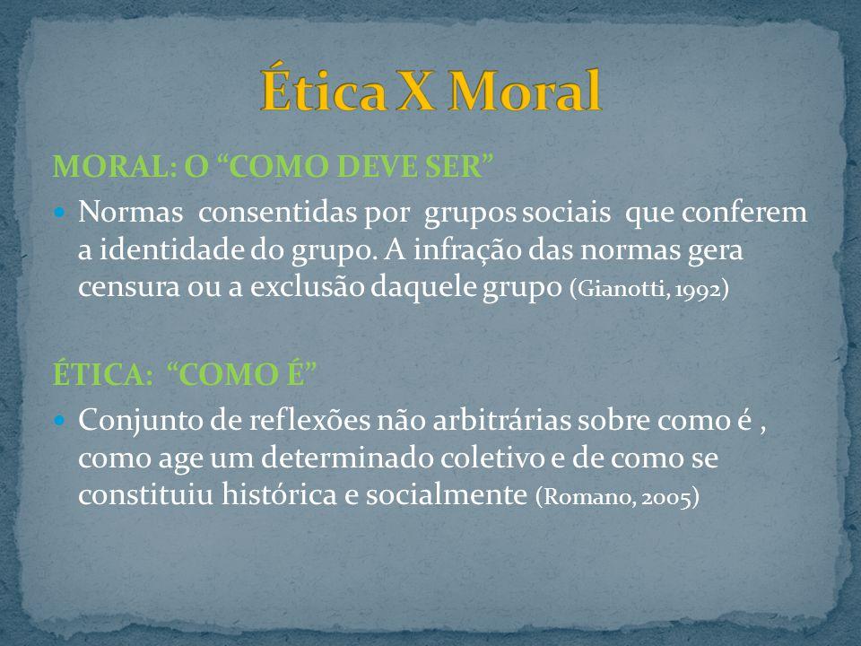 MORAL: O COMO DEVE SER Normas consentidas por grupos sociais que conferem a identidade do grupo. A infração das normas gera censura ou a exclusão daqu