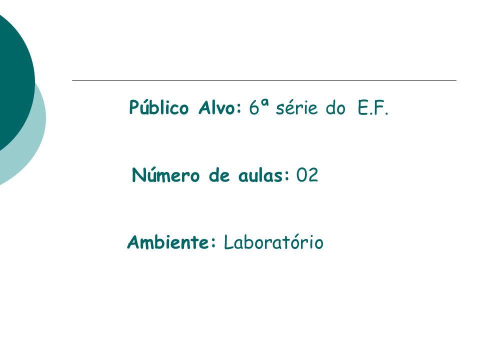 Público Alvo: 6ª série do E.F. Número de aulas: 02 Ambiente: Laboratório