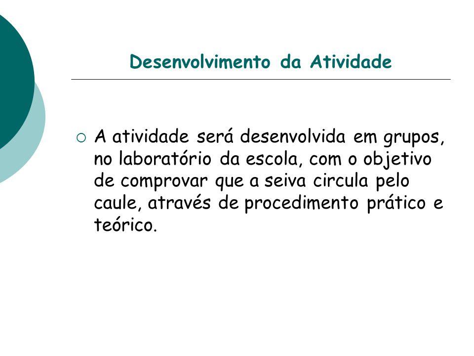 Desenvolvimento da Atividade A atividade será desenvolvida em grupos, no laboratório da escola, com o objetivo de comprovar que a seiva circula pelo c