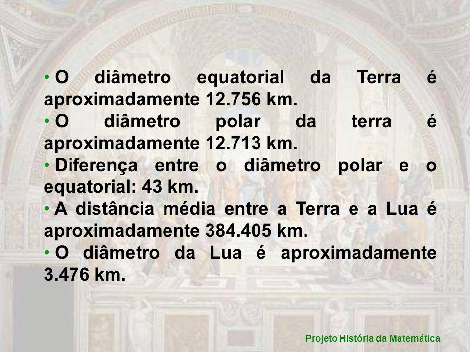 Projeto História da Matemática O diâmetro equatorial da Terra é aproximadamente 12.756 km.