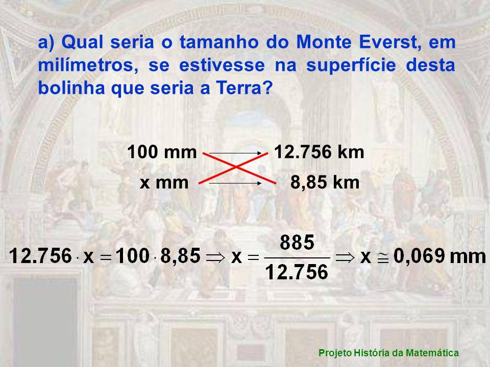 a) Qual seria o tamanho do Monte Everst, em milímetros, se estivesse na superfície desta bolinha que seria a Terra.