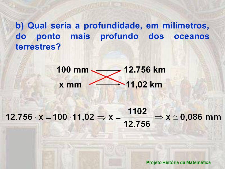 b) Qual seria a profundidade, em milímetros, do ponto mais profundo dos oceanos terrestres.