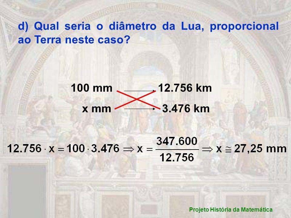 d) Qual seria o diâmetro da Lua, proporcional ao Terra neste caso.