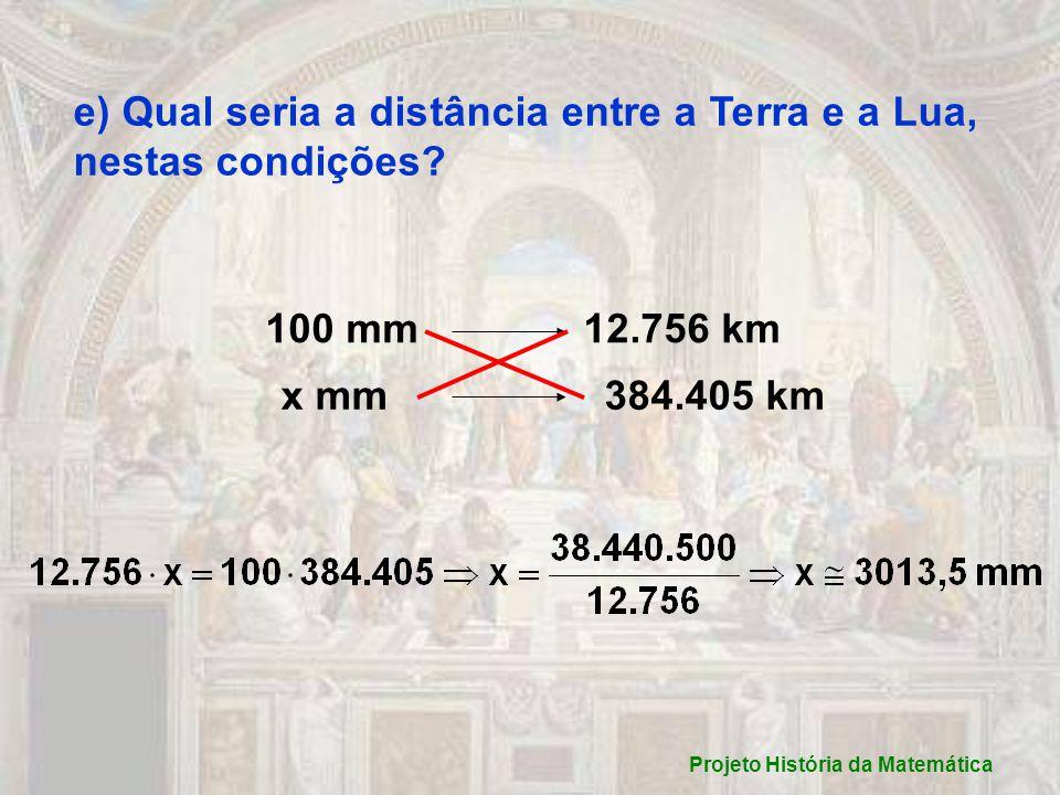 e) Qual seria a distância entre a Terra e a Lua, nestas condições.